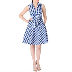 eShakti Shawl Collar Sash Gingham Check Dress Blue